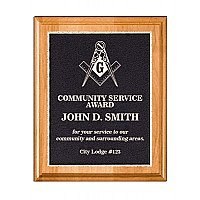 Solid Alder Plaque with Natural Finish and Black Aluminum Engraved Plate