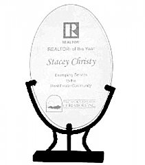 9 1/2 Inch Oval Crystal Award in Iron Stand