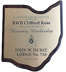 8.25 x 9.5 Small Ohio Plaque with Gold Engraved Plate