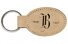 Leather Oval, 1 side Engravable Keychain
