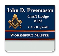 2.5x3 two color full Laser Engraved Pocket Badge with Slide insert bar and add on Cast Emblem