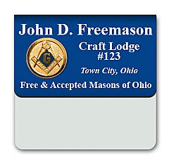 2x3 two color full Laser Engraved Pocket Badge with Metal Medallion